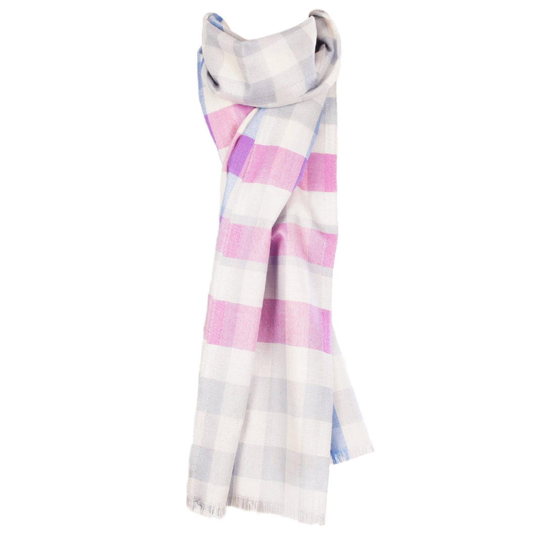 Light Grey Jumbo Plaid 50% Wool 50% Silk Scarf