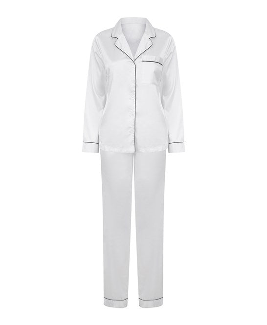 Women's satin long pyjamas White