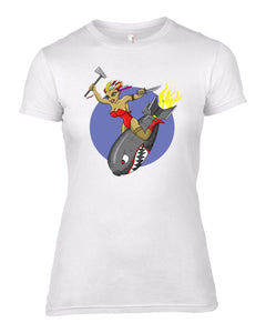 Bomb Girl Nose Art Crew Neck T Shirt - Scattee