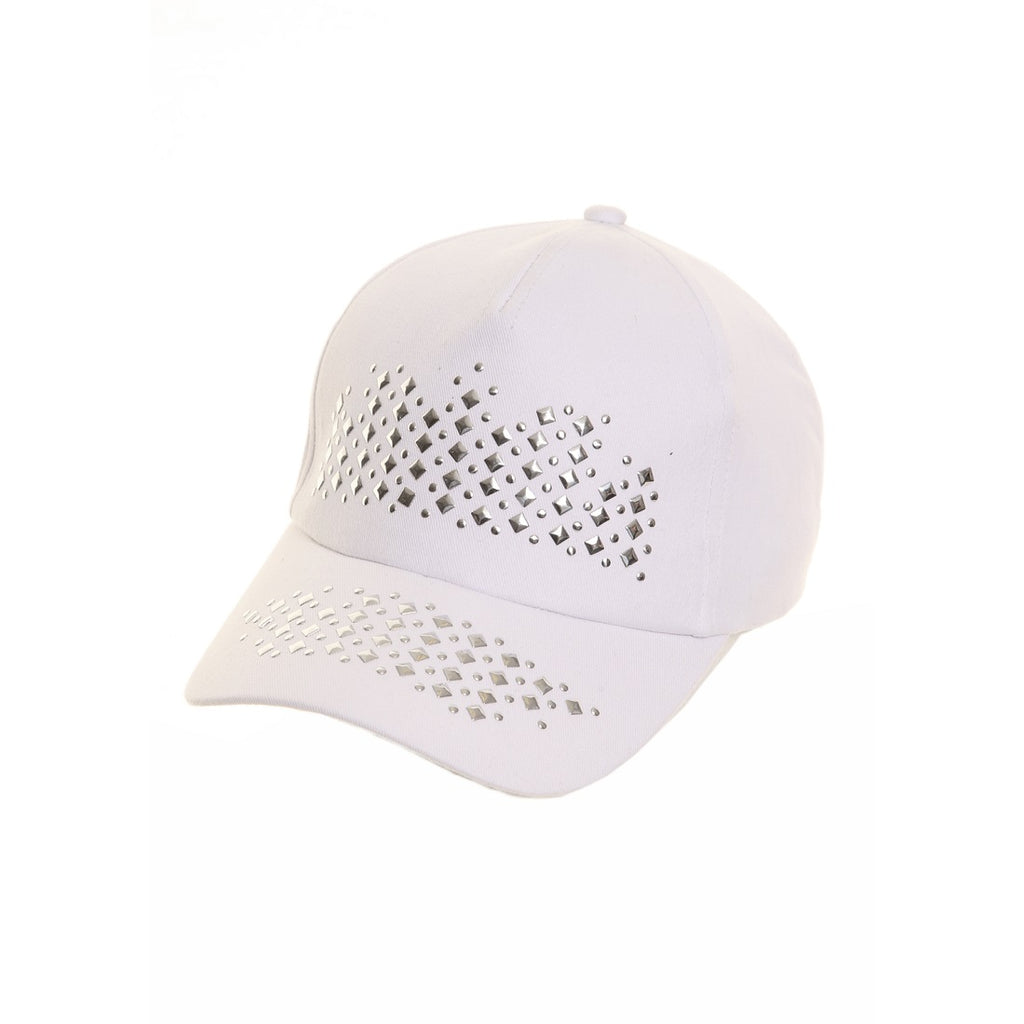 Studded Baseball Cap White - Scattee