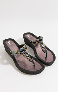 Stunning Summer Embellished Pool Sandal Appollo Black