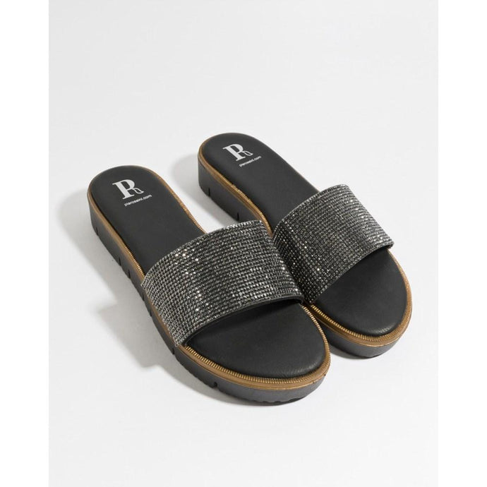 Metallic Embellished Glitter Crystal Aisha Sandals