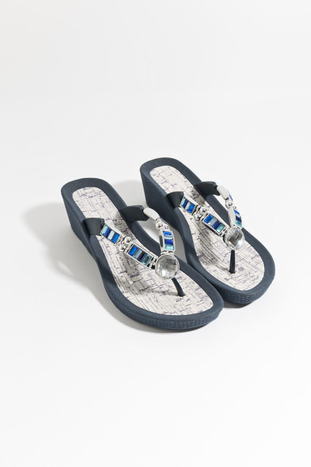 Summer Jewel Embellished Alicante Sandal Navy