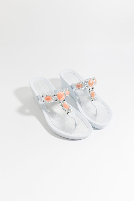 Stunning Summer Embellished Pool Sandal Appollo White and Coral