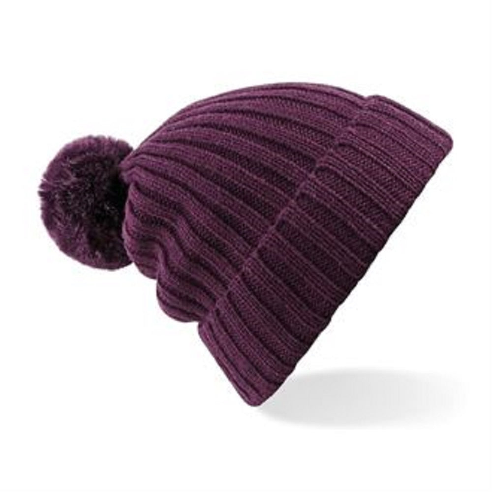 Arosa Beanie Hat Plum Faux Fur Pom - Scattee
