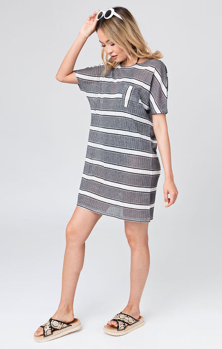 Bondi Chic Stripe Printed Soft Lightweight T-Shirt Dress Black and White