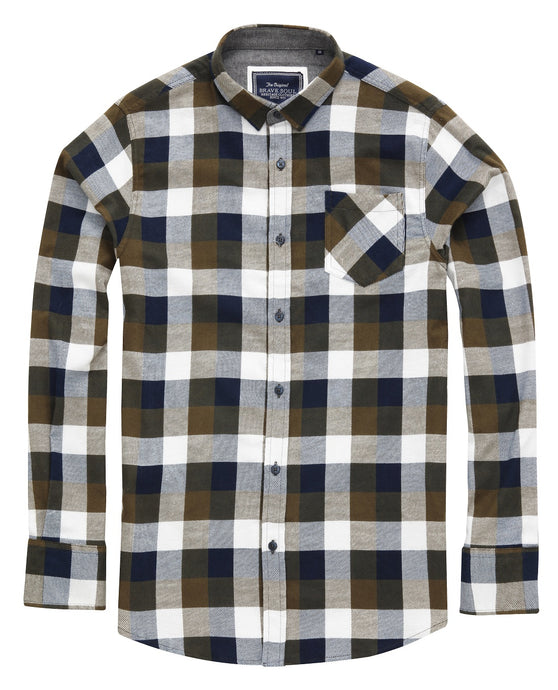 Persuader Long Sleeve check shirt khaki navy - Scattee