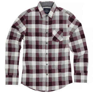 Persuader Long Sleeve check shirt wine - Scattee