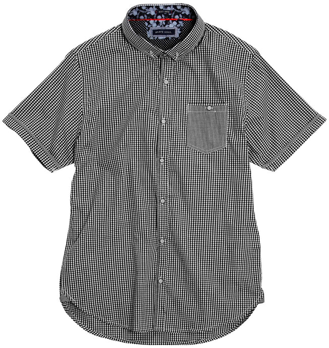 Brave Soul Clement - S/S Fine Checked Shirt Black/White - Scattee