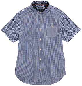 Brave Soul Clement - S/S Fine Checked Shirt Navy/White - Scattee