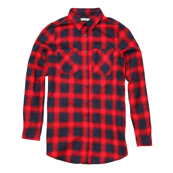 Slater Long Sleeve Check Shirt Red Navy - Scattee