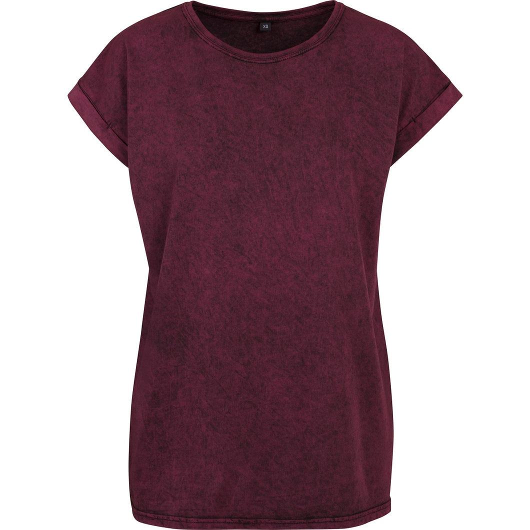 Acid washed cotton T-Shirt Berry Black - Scattee