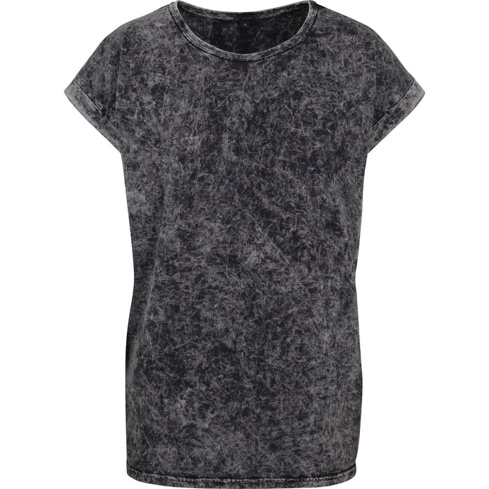 Comfortable Acid washed cotton T Dark Grey White