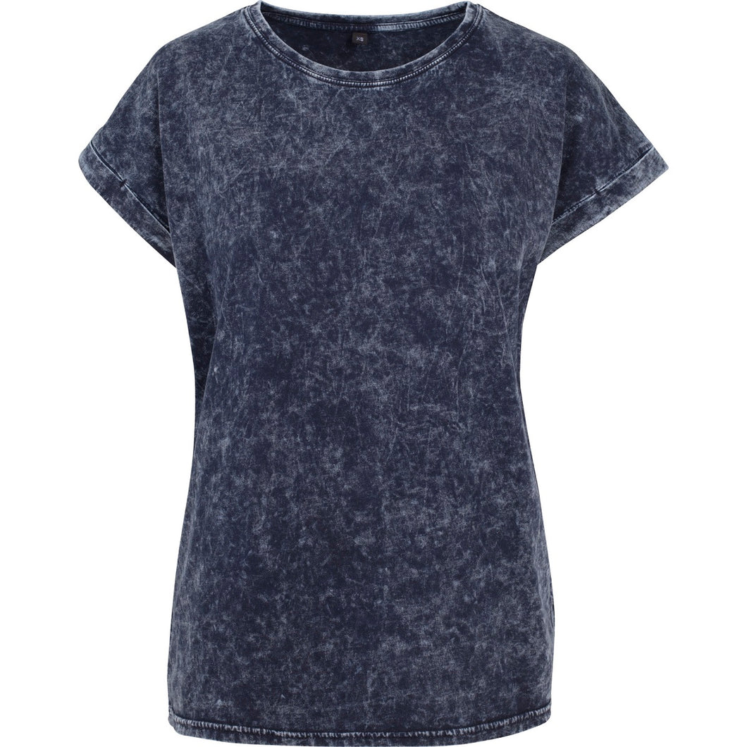 Acid washed cotton tee Indigo White - Scattee