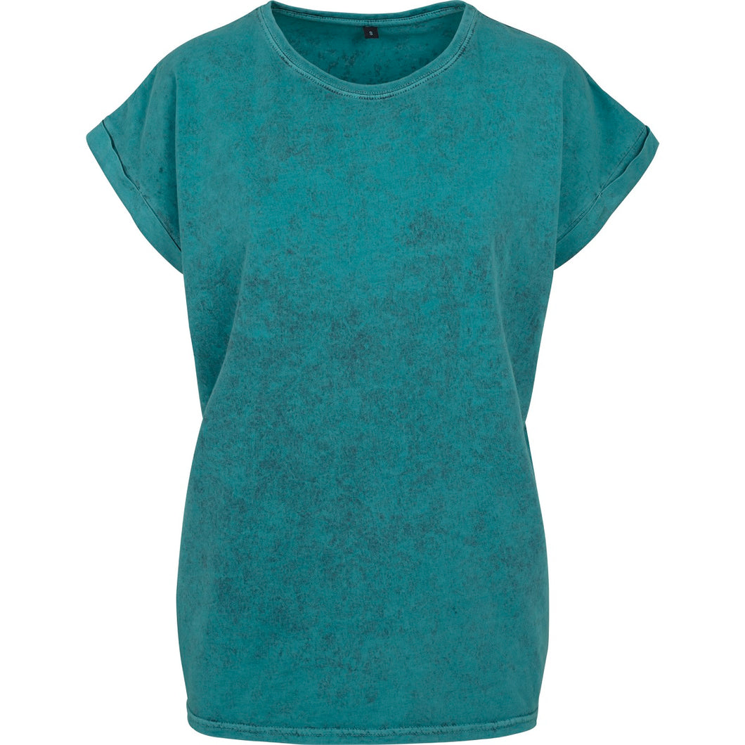 Acid washed cotton tee Teal Black - Scattee