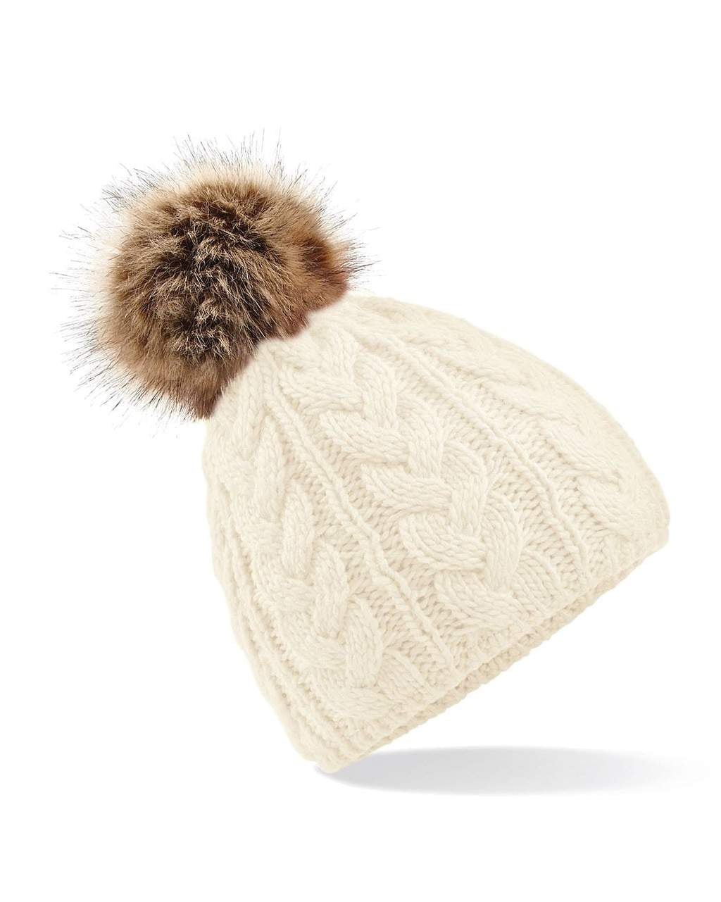 Cable Knit Beanie Hat Faux Fur White - Scattee