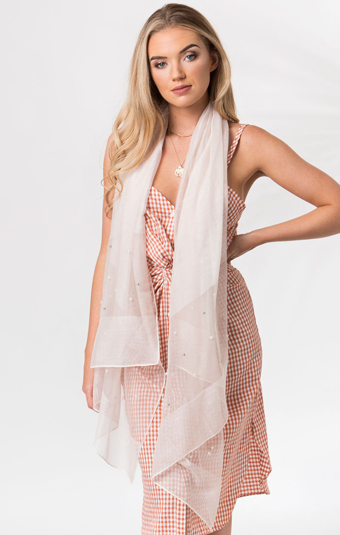 Lightweight Pearl and Diamante trim Cristine Scarf Blush