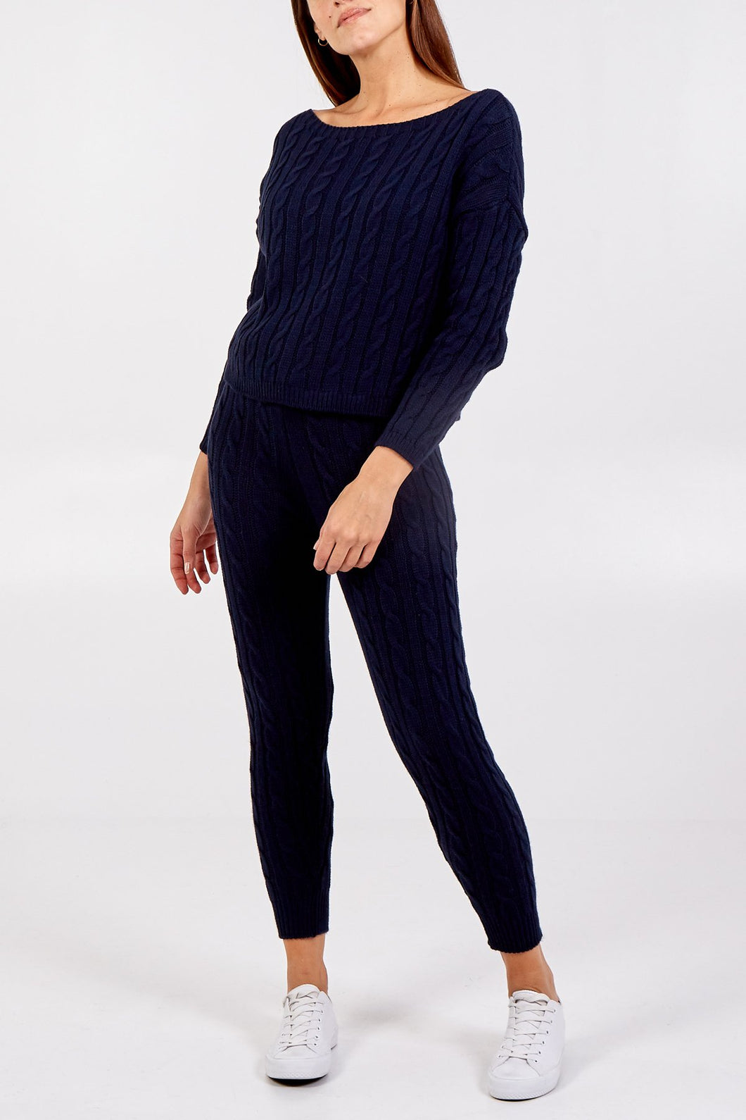 Cable Knit Two Piece Co-Ord Navy Blue