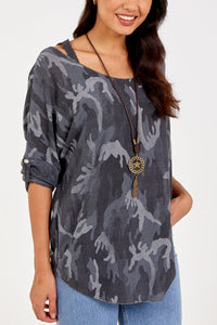 Made In Italy Camouflage Necklace Top with matching Vest Navy