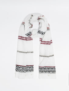 Lightweight Embroidered Cori Scarf White