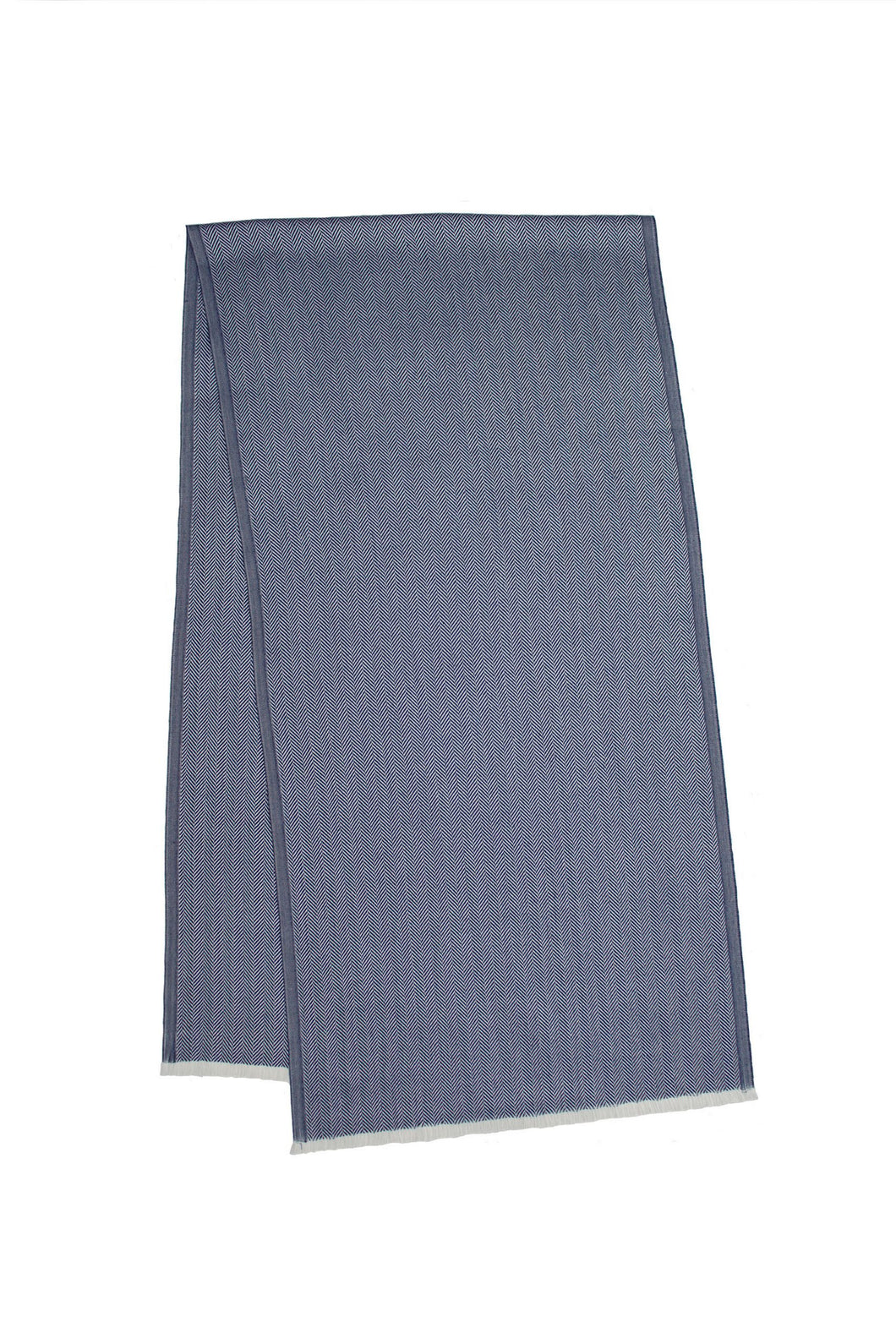 Luxury Blue Plain Cashmere and Silk Scarf