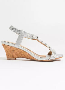 Crystal Cork Wedge Gem Arielle Sandal White