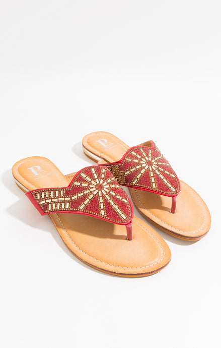 Stunning Summer Diamante Este Sandal Red