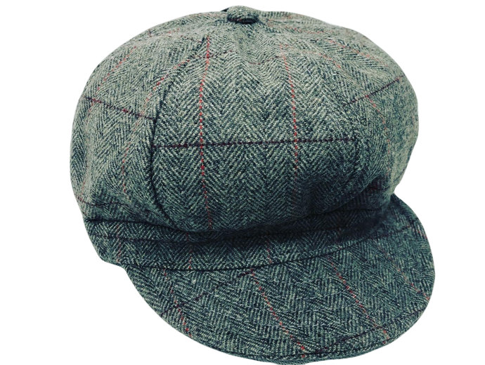 Ladies 60's Retro Baker Boy Hat Grey - Scattee