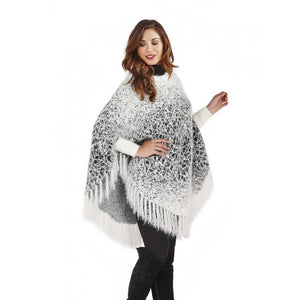 Fringed Feathered Poncho with Knotted Detail - Scattee