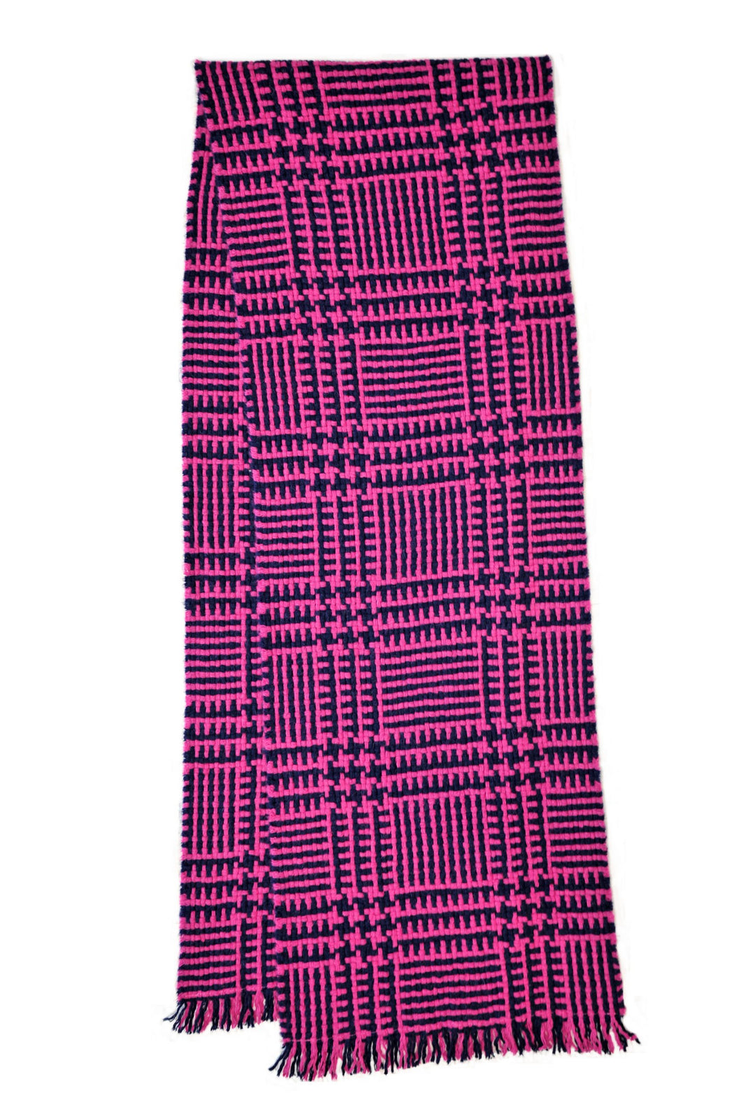 100% Cashmere Chunky Navy/Pink Glen Deluxe Herringbone Scarf