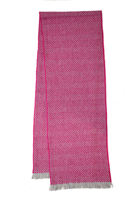 100% Cashmere Chunky Pink Deluxe Herringbone Scarf