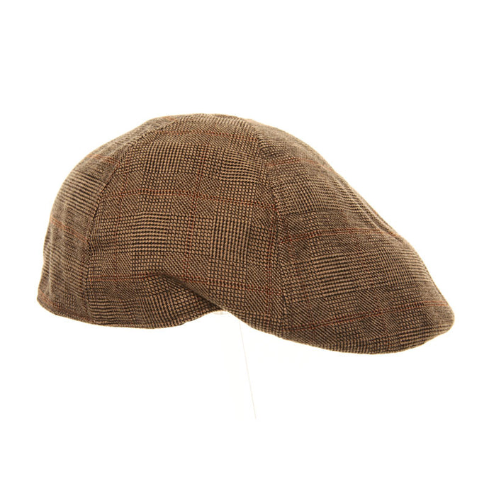 Check Shaped Flat Cap with Performed Peak