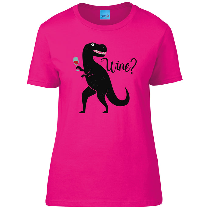 Dinosaur with a Glass of Wine Ladies T