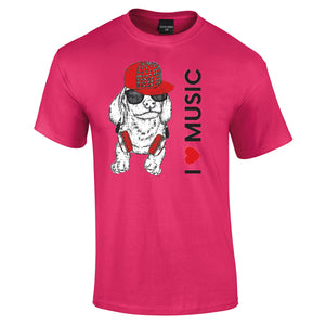 The I Love Music Puppy T is back ! Ladies or Gents Cut