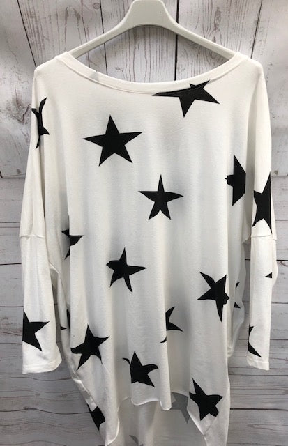 Made In Italy Two Pocket Long Sleeve Oversized Star Top White