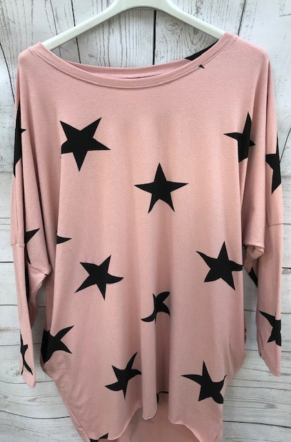 Two Pocket Long Sleeve Oversized Star Top Pink