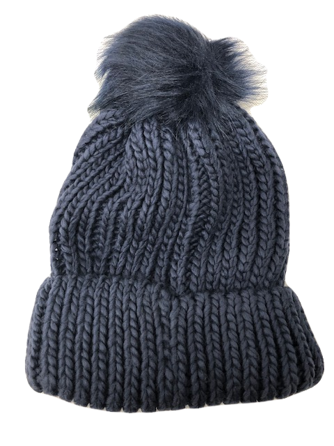 Chunky Knit Bobble Hat Faux Fur Pom Navy - Scattee