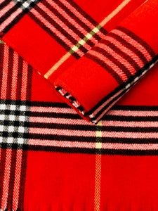 Traditional Checked Tartan Scarf Red - Scattee