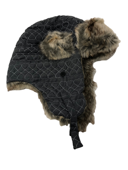 Heart Stitched Trapper Hat Light Grey Faux Fur - Scattee