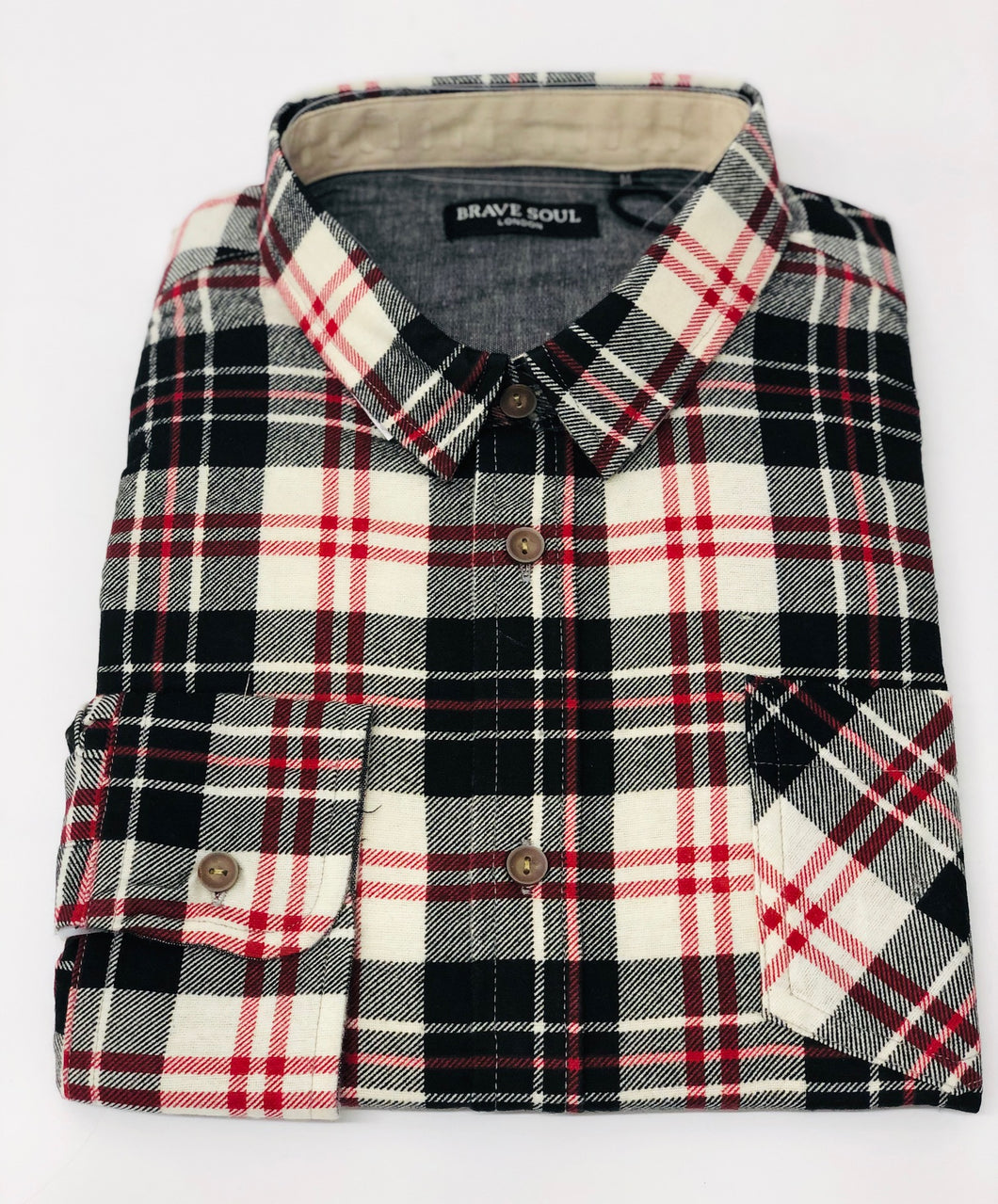 Ernst- Long Sleeve Check Shirt Red/Black - Scattee