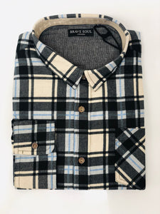 Ernst- Long Sleeve Check Shirt Blue/Black - Scattee