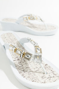 Stunning Summer Jewel Embellished Inis Wedge Sandal White