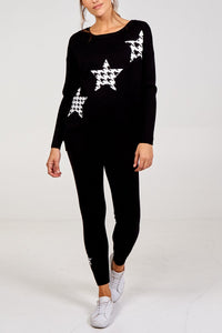 Houndstooth Star Jumper & Jogger Set Black
