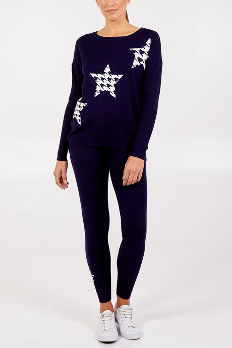 Houndstooth Star Jumper & Jogger Set Navy