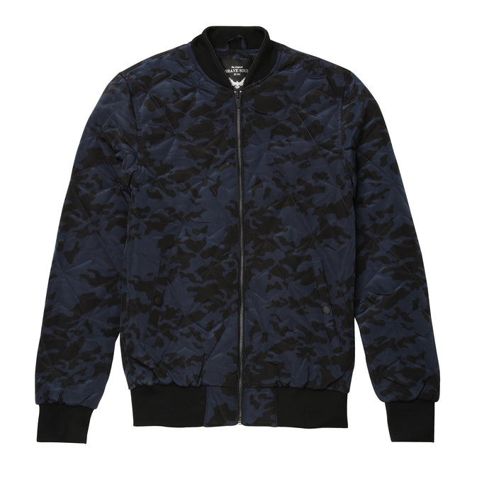 Brave Soul Quilted Camo Bomber Jacket Blue - Scattee