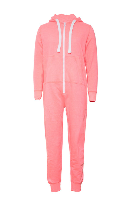 Zip Front Cosy and Comfortable Onesie Neon Bright Pink