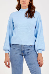 Balloon Sleeve Ribbed Jumper Blue