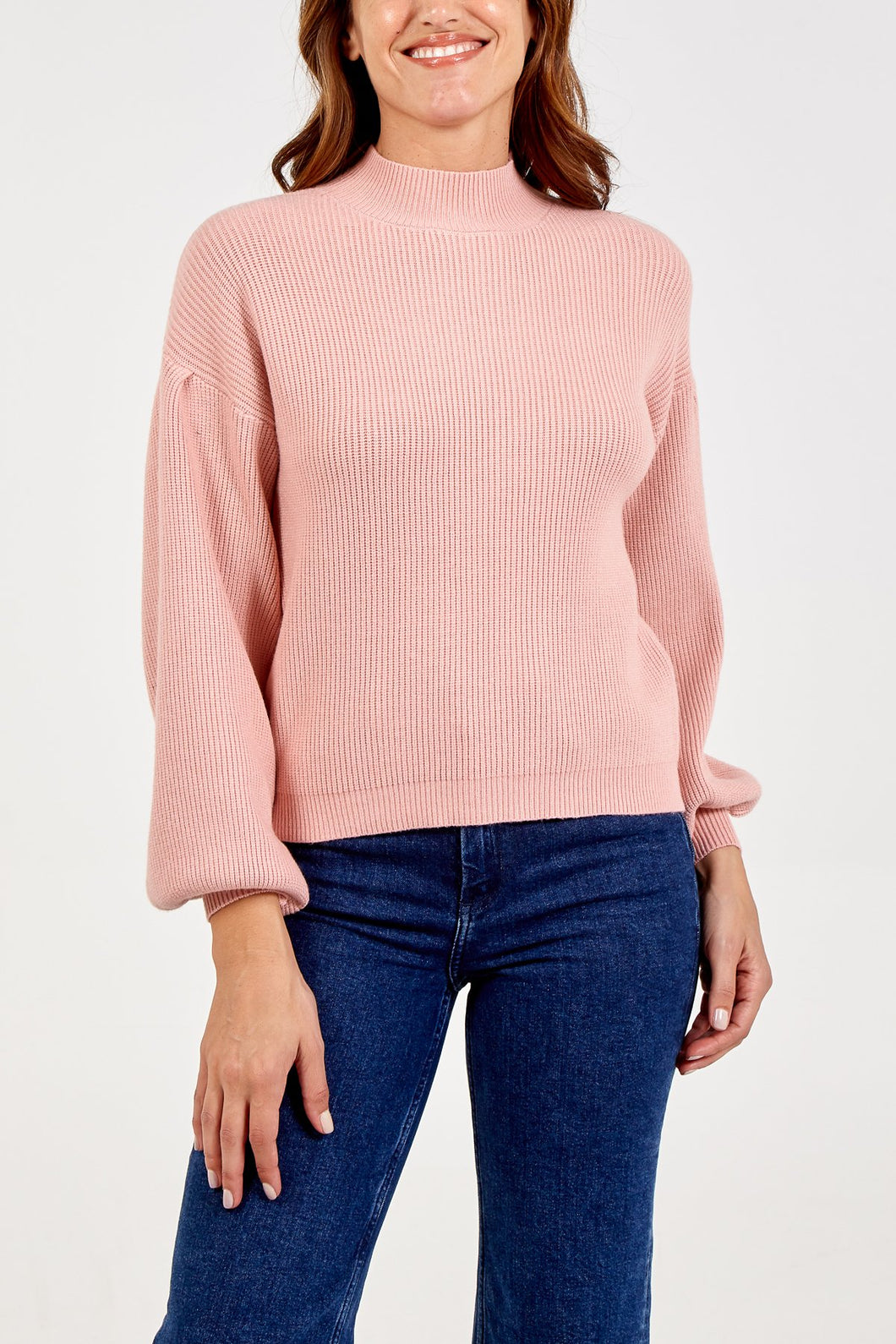 Balloon Sleeve Ribbed Jumper Blush Pink