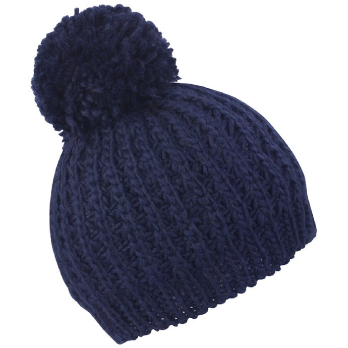 Chunky Cable Knit Flute Pom Hat Navy - Scattee
