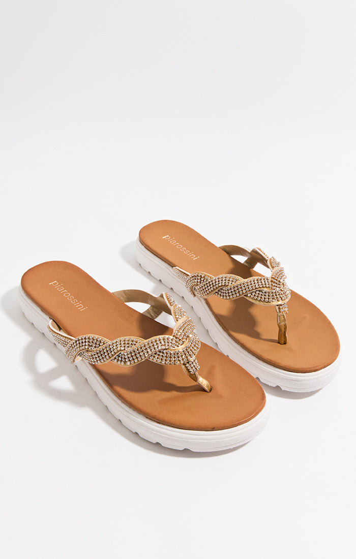 Summer Crystal Stone toe post Sandrine Sandal Gold